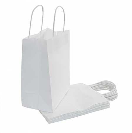 Amazon.com: Blanco Bolsas De Papel Kraft con asas la ...