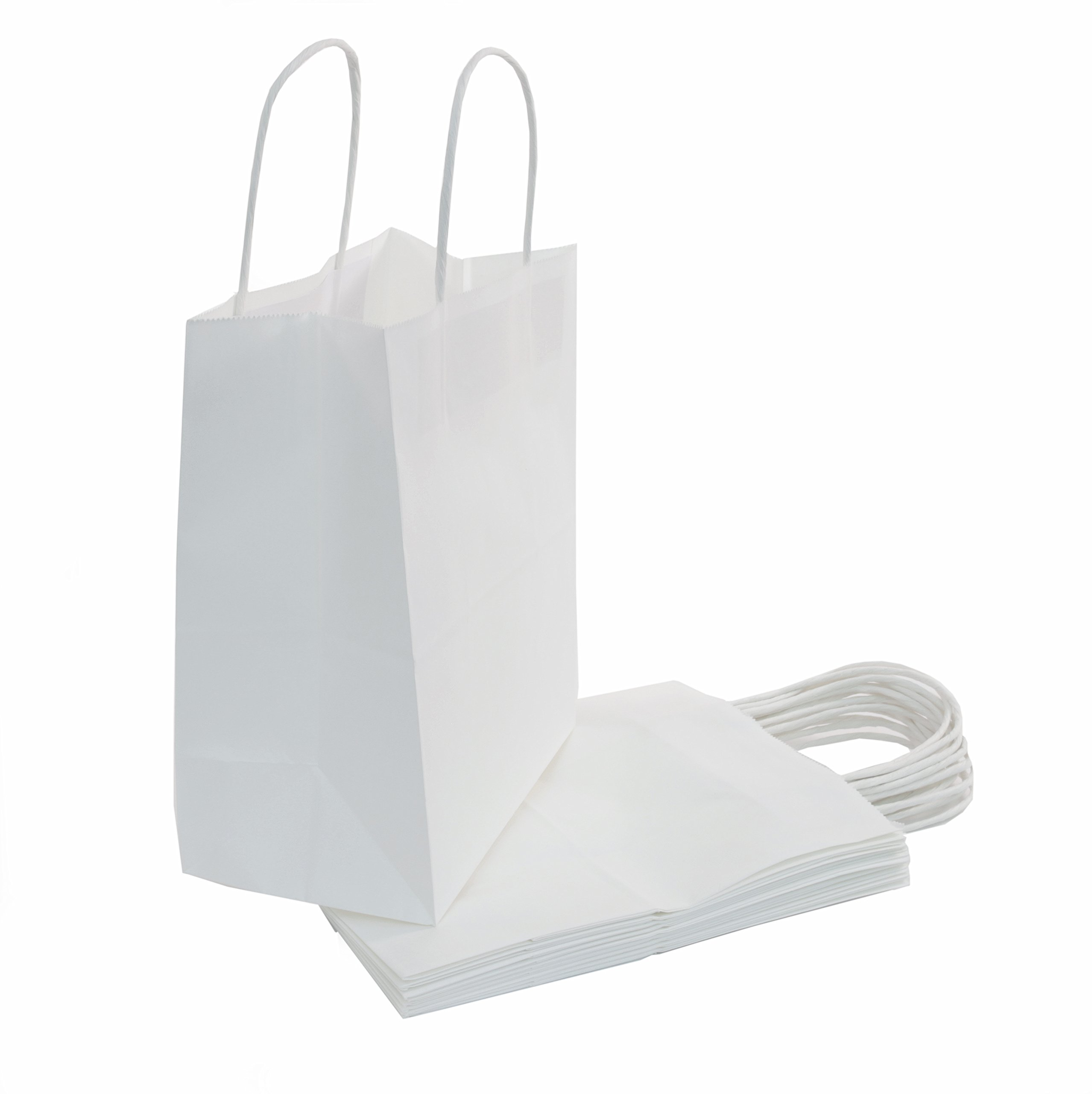 "50 Count - White Kraft Paper Bags with Handles - Perfect Solution for Baby Shower, Birthday Parties, Boys and Girls Gifts, Shopping, Restaurant takeout and Shop Owners - Size (8""x4.75""x10"")"