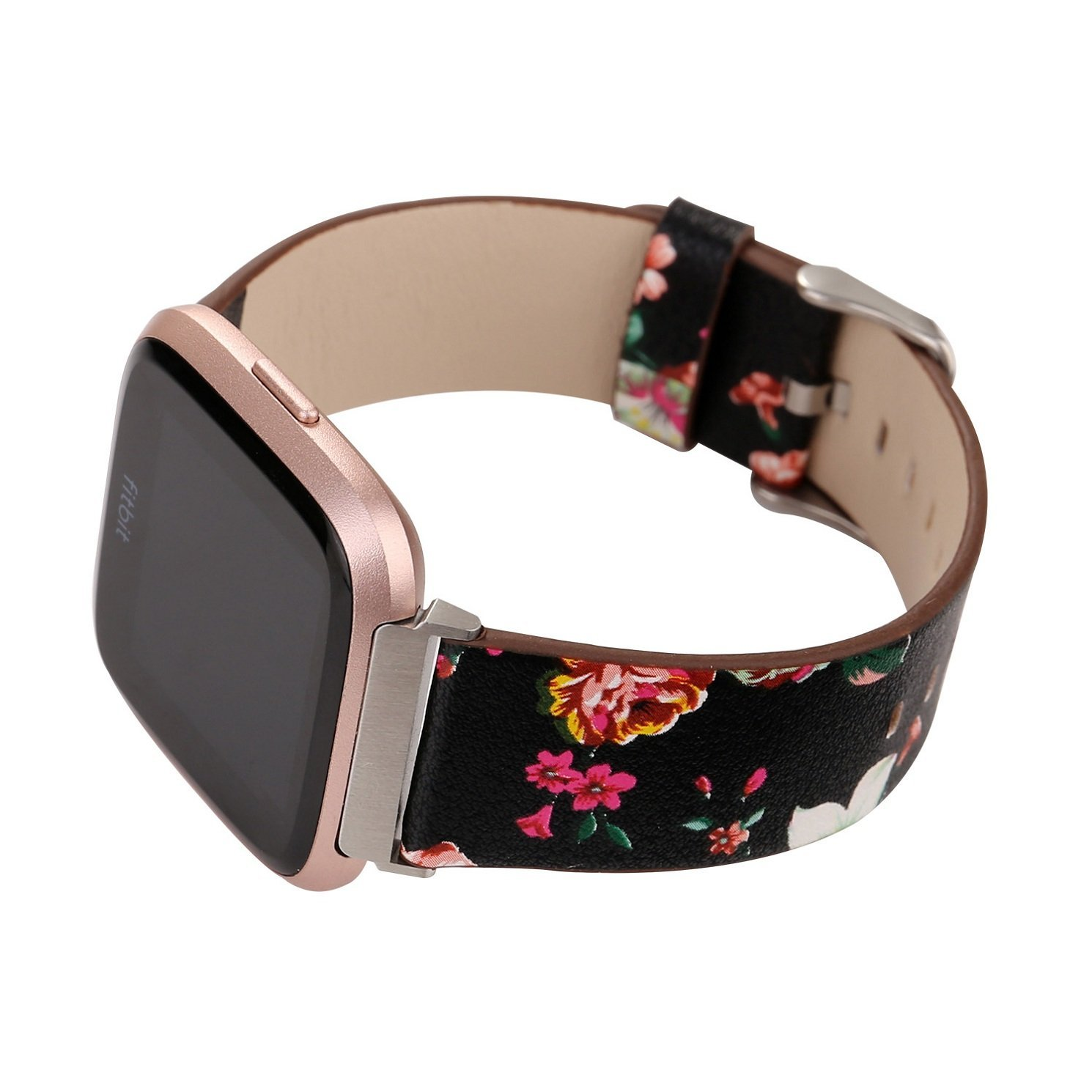 Juzzhou Smart Watch Band For Fitbit Versa Watchband Wriststrap Leather Motley Flower Bracelet Replacement Wrist Strap Wristband With Metal Adapter Adjustable Buckle Clasp For Woman Lady Girl Black by Juzzhou (Image #4)