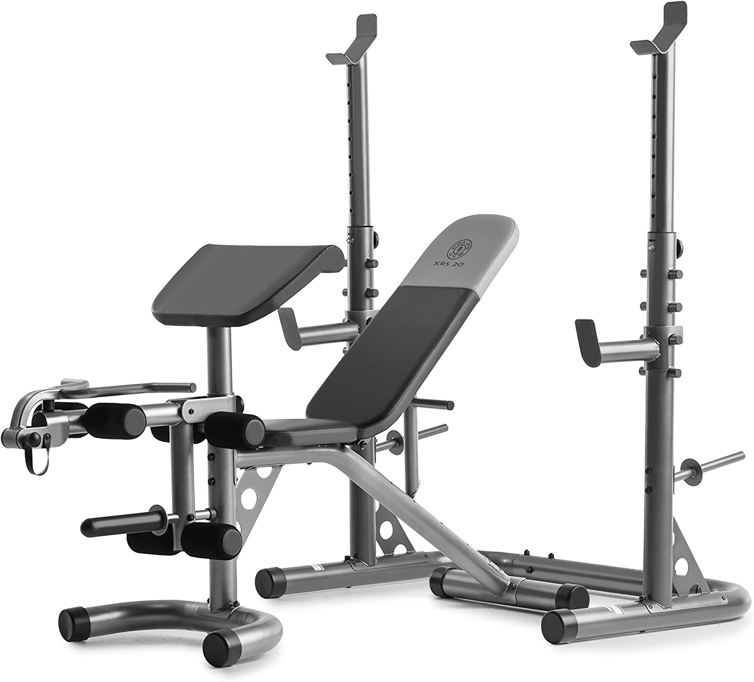Amazon.com : Gold's Gym XRS 20 Adjustable Olympic Workout Bench with Squat Rack, Leg Extension, Preacher Curl, and Weight Storage : Sports & Outdoors