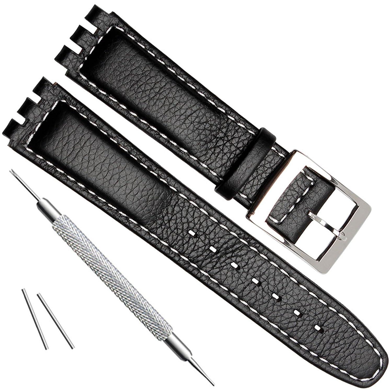 Alligator Grain Cowレザーステンレススチールバックル腕時計バンドストラップfor見本 17mm White Stitch/Black  B07D3QBW3Y