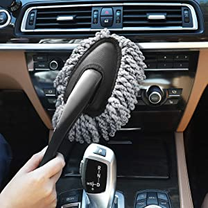 Ordenado Multi-Functional Microfiber Car Duster Interior & Exterior Dash Dust Cleaner, Cleaning Detail Brush Dusting Washing Tool Kit for Car Home Kitchen Computer California Cleaning Products