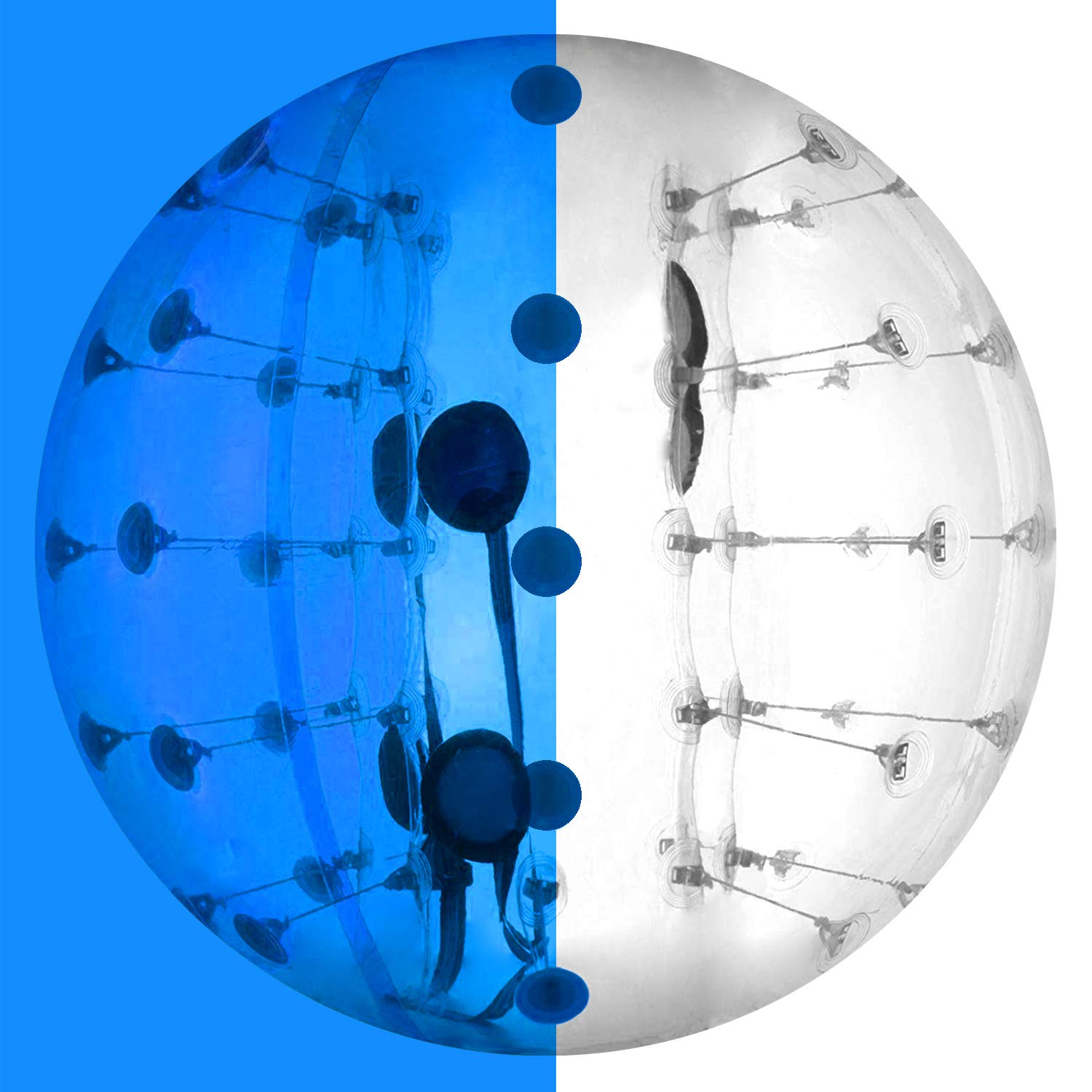 Happybuy Inflatable Bumper Ball 1.2M/4ft 1.5M/5ft Diameter Bubble Soccer Ball Blow Up Toy in 5 Min Inflatable Bumper Bubble Balls for Adults or Child (Half Blue, 5ft) by Happybuy (Image #1)