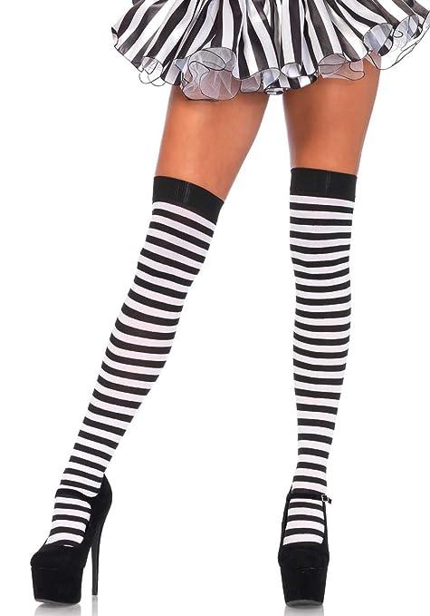 Leg Avenue Bas Rayés Grande Taille Noir Blanc Plus Size  Amazon.fr ... c60c7255c06