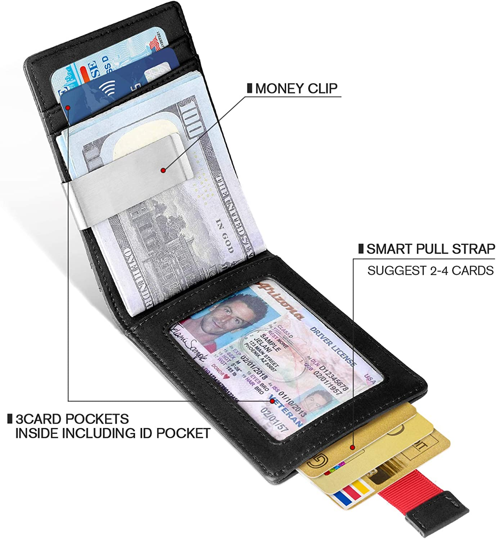 Money Clip Slim Wallet-Minimalist Bifold Front Pocket Wallet for Men,Card Holder Effective RFID Blocking