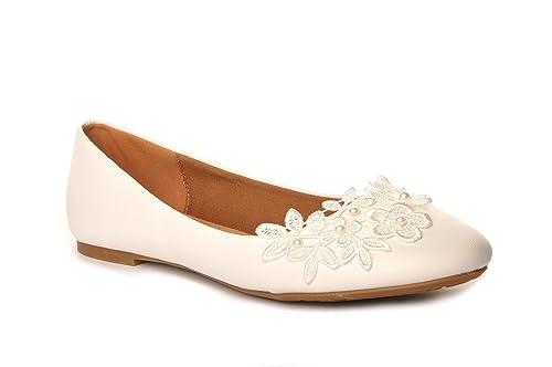 e8162909689 Off White Pearl Crochet Wedding Flat Pumps Bridal Ballerina  Amazon ...