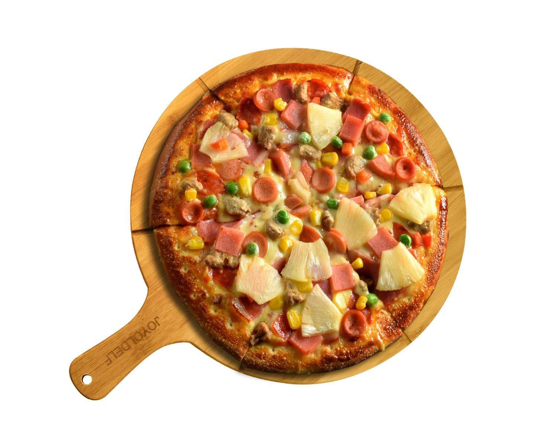 11.8 // 30 cm de Diam/ètre Parfait Pour Servir des Fromages Joyoldelf Plaque Pizza Avec 6 Rainures Plat Pizza en Bambou Naturel du Pain et des Pizzas