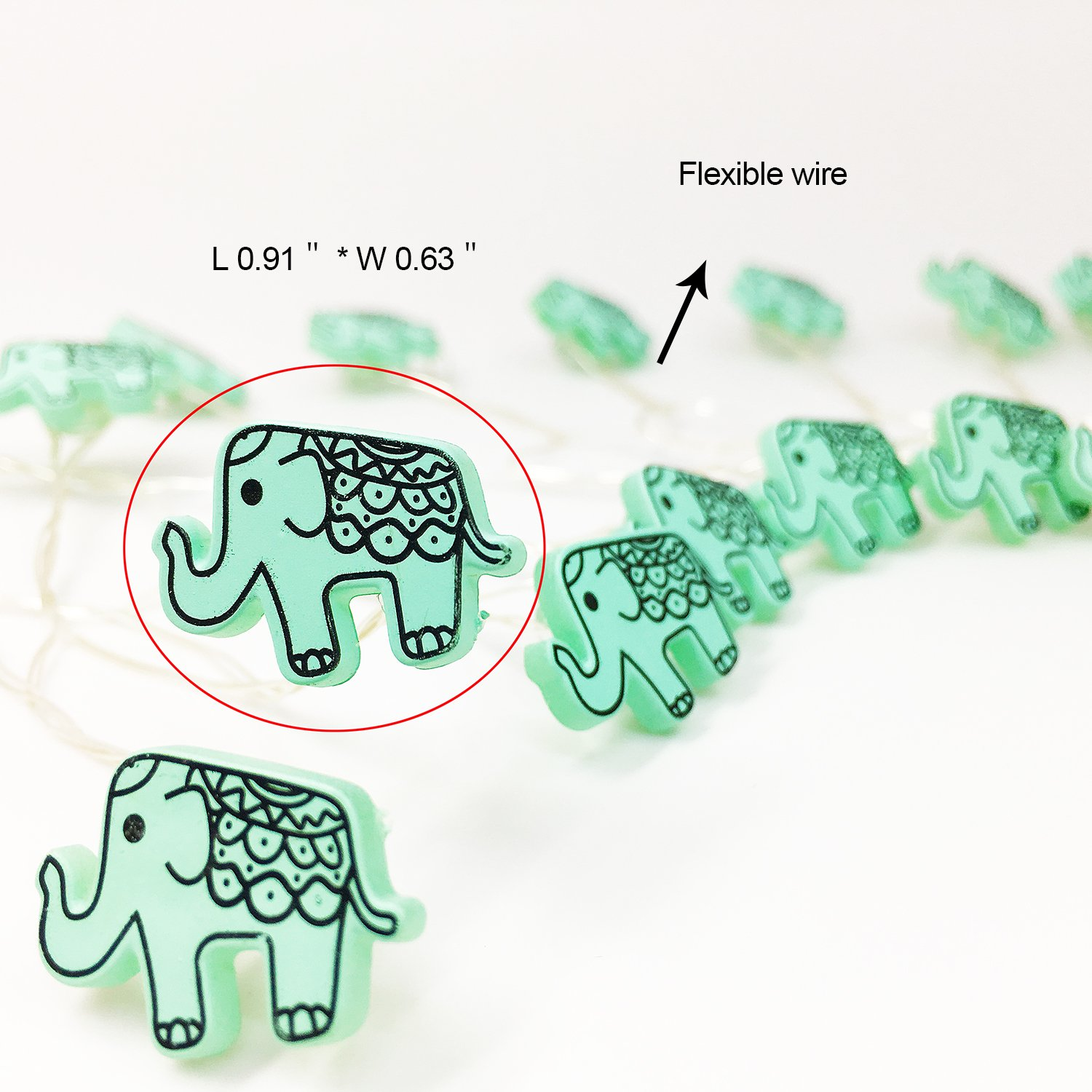 Animal Novelty Lights String Battery Operated with Timer Control 20 Micro LED Wire Lights Waterproof 2 Pack Elephant String Lights for Home Decoration,Kids Bedroom,Christmas,Holiday,(ELE2) by VagaryLight (Image #3)