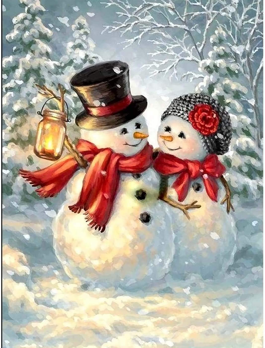 Kaliosy 5D Diamond Painting Snowman Christmas Couple Street Lights by Number Kits Paint with Diamonds Art for Adults DIY Crystal Craft Full Drill Cross Stitch Decoration 12x16inch