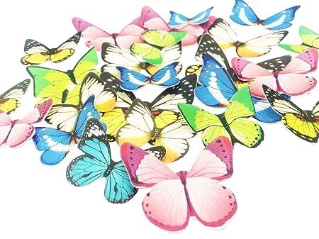Juego de 30 adornos comestibles para magdalenas, bodas, tartas, cumpleaños, fiestas, decoración de alimentos, varios tamaños y colores Butterfly