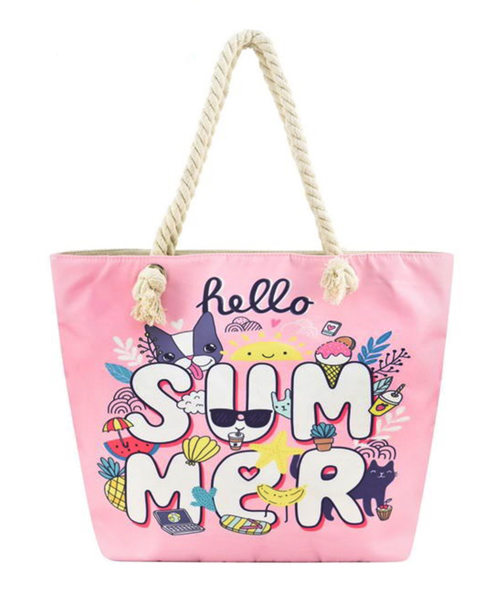 Canvas Tote Bag with Cotton Rope Handle (Pink Hello Summer)