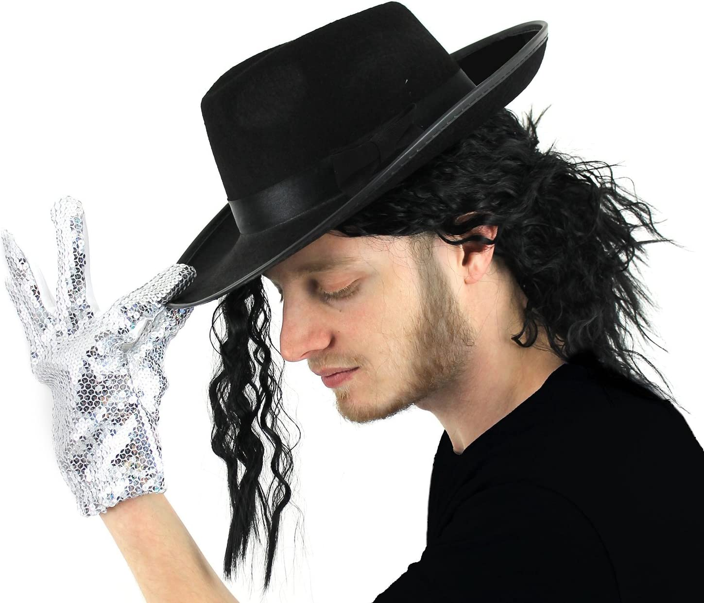 WHITE FEDORA HAT BLACK BAND WITH WIG HAIR JACKO 1980S FANCY DRESS COSTUME TRILBY