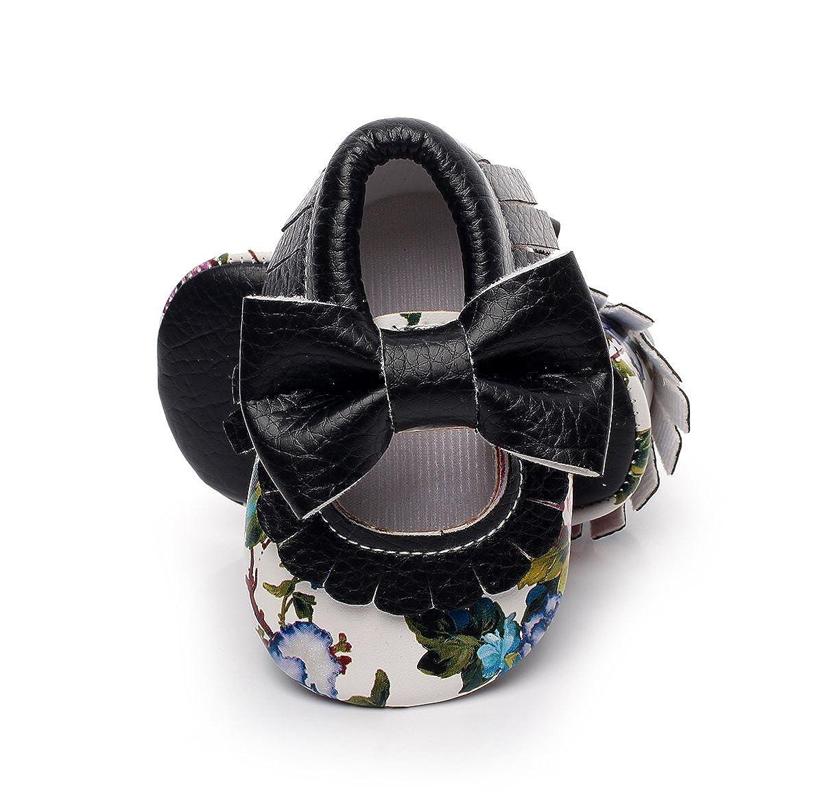 HONGTEYA Infant Toddler Baby Girls Soft Sole Tassel Bowknot Moccasins Floral PU Leather Shoes Mary Jane Flats Sandala