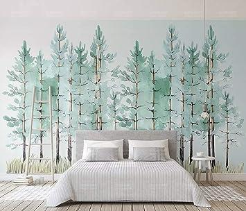 Duvarkapla Modern Nane Yeşil Ağaç Boyama Orman 3 Boyutlu Duvar