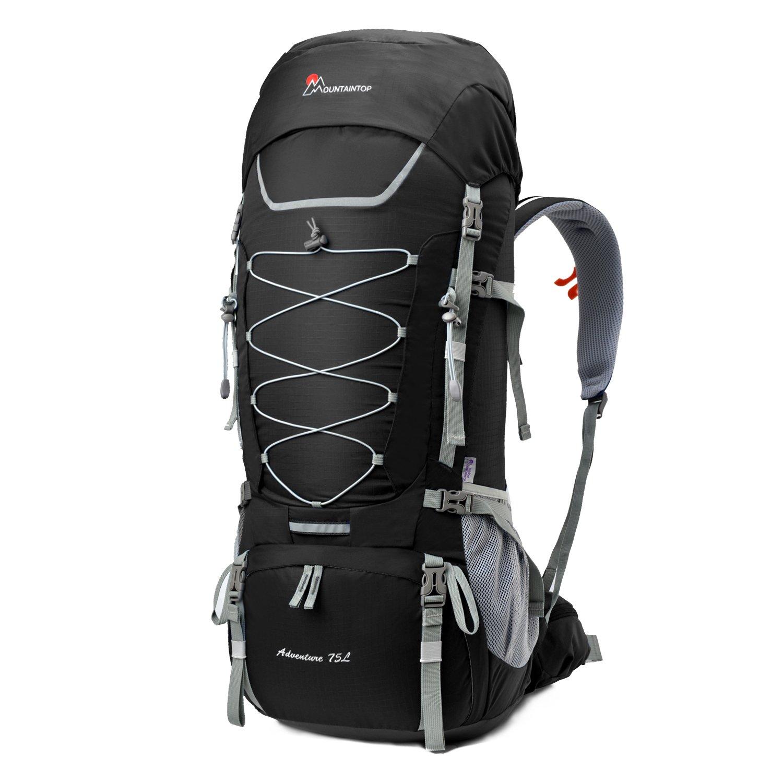 Mountaintop 70L/75L バックパック メンズ リュック 登山 大容量ザック 軽量 長期旅行 ハイキング キャンプ用 リュックサック アウトドアバッグ レインカバー付き 撥水 B01E8BQYA6 ブラック 75L ブラック 75L