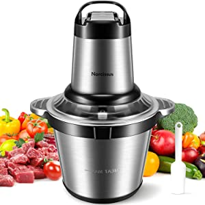 Narcissus Electric Meat Grinder, 500W & 3.5L 14-Cup Large Food Processor Chopper for Quick Chopping & Mixing Meat Vegetables, 4 Sharp Blades & 3 Rotating Speeds, with a Scraper [2021 Latest Version]