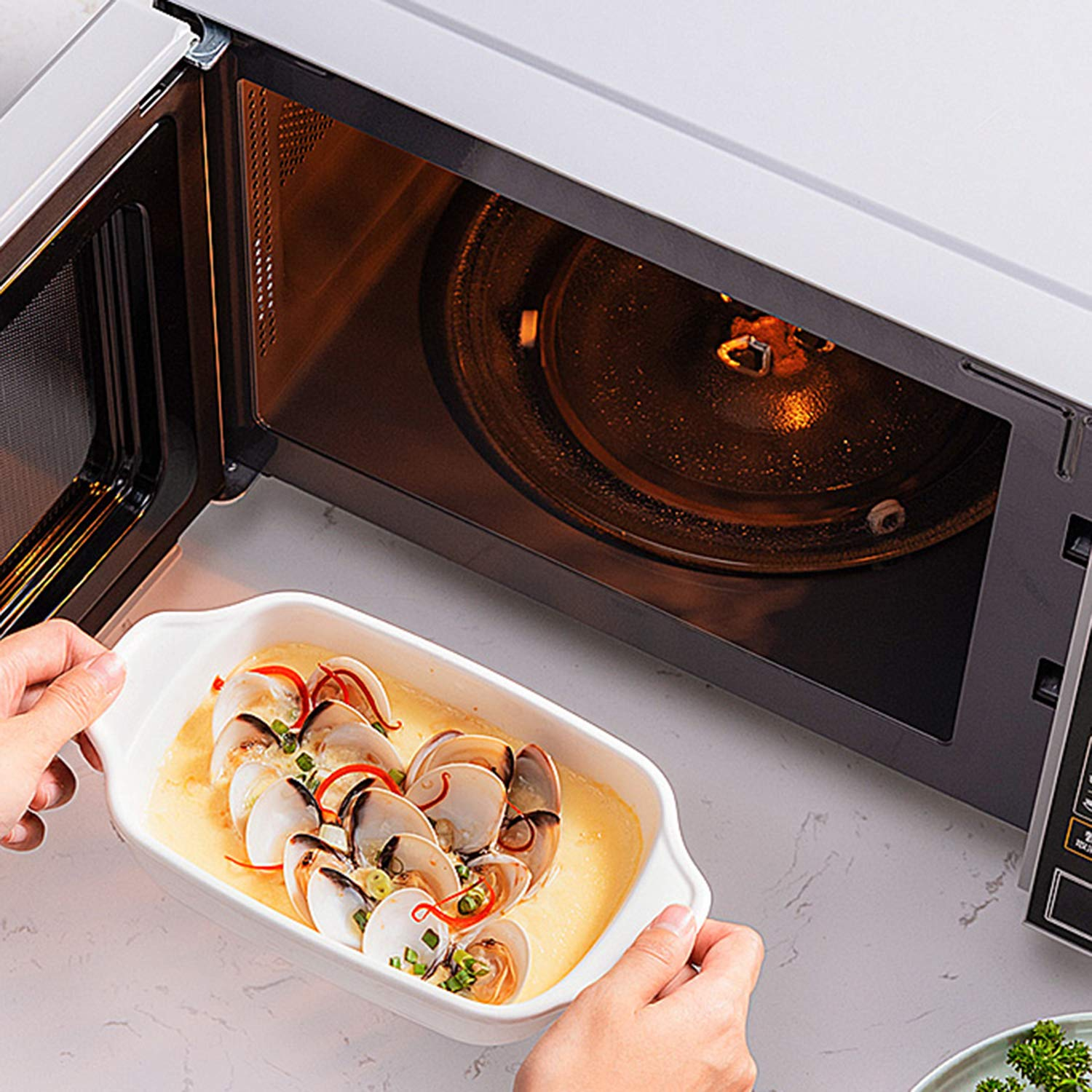 Microwave Glass Turntable Plate Replacement with Heat Resistant Glove For Large Microwaves 12.5 Microwave Glass Plate
