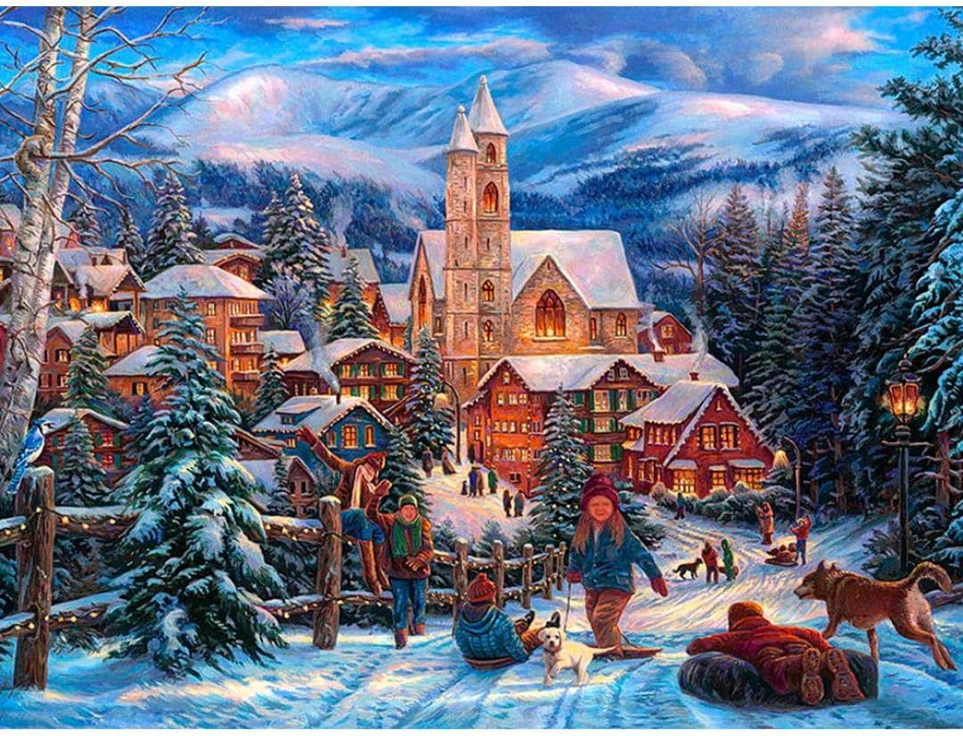 Skiing❤ Lavany 5D Diamond Paintings By Number Kit,Christmas DIY Full Drill Cross Stitch Embroidery 5D Paintings Crystal Rhinestone Cross-Stitch Stamped Kits Clearance