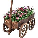 Giantex Wood Wagon Flower Planter Pot Stand W/Wheels Home Garden Outdoor Decor