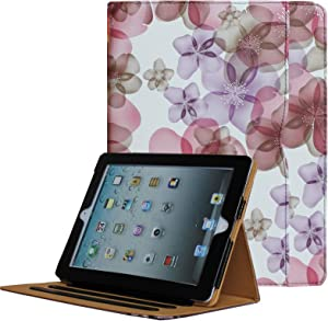 for iPad 9.7 6th/5th Generation 2018/2017, iPad Air/Air 2 Case, JYtrend Multi-Angle Viewing Stand Folio Smart Cover with Pocket for A1893 A1954 A1822 A1823 A1474 A1475 A1476 A1566 A1567(Pink Flower)