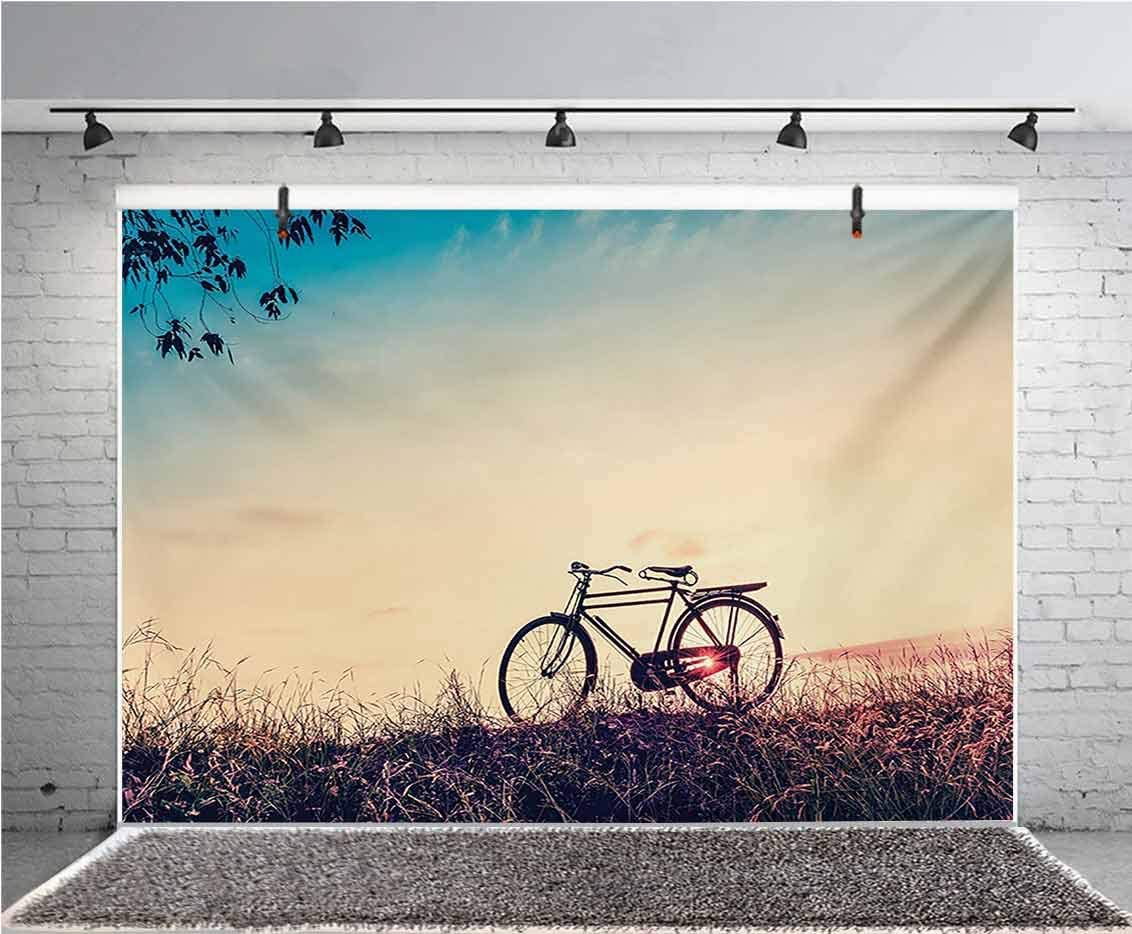 Vintage Bike 10x6.5 FT Vinyl Photography Backdrop,Retro Filter Sunset and Bicycle in Pastel Tones Hipster Joyful Background for Photo Backdrop Baby Newborn Photo Studio Props
