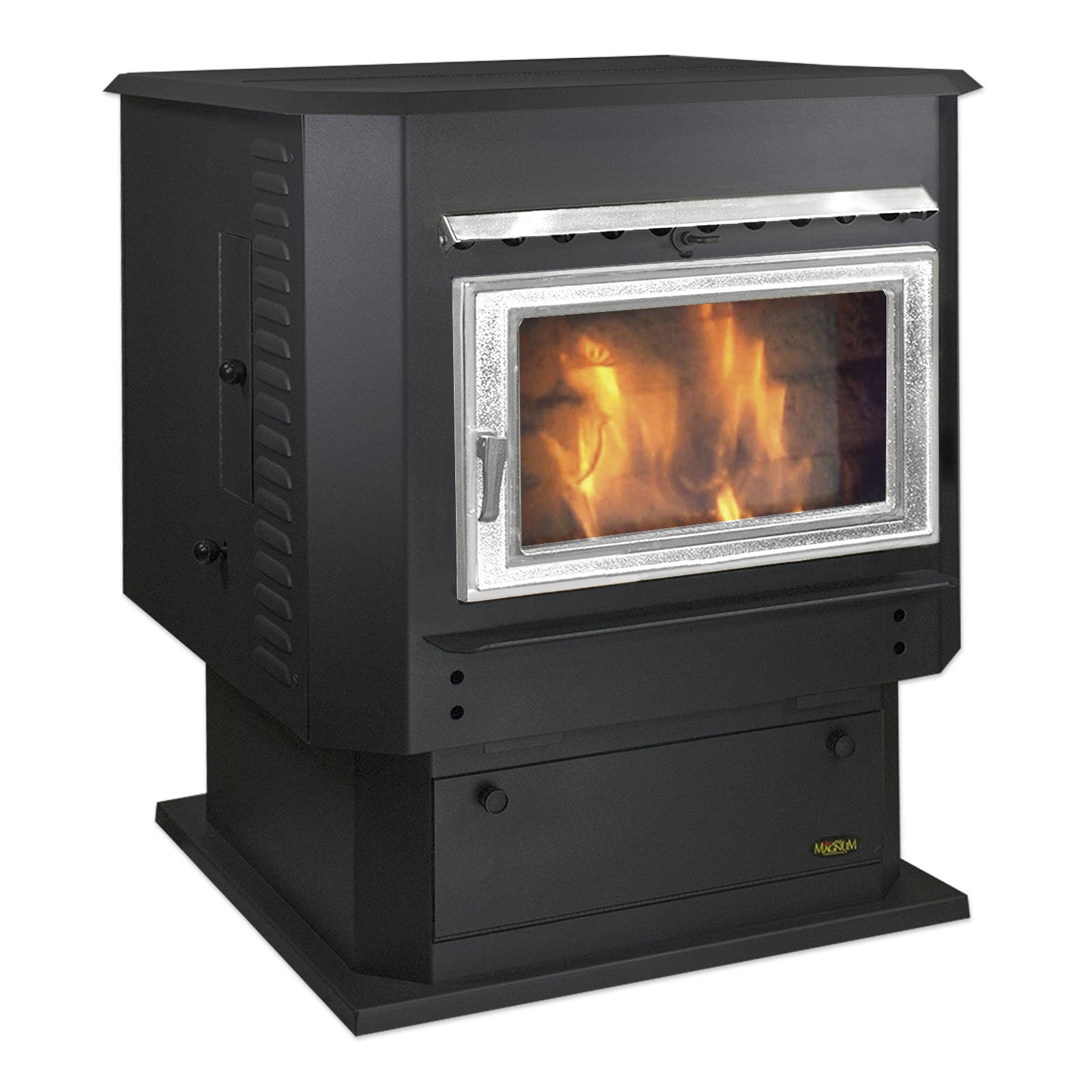 Classic Black with Nickel Door MagnuM Grand Countryside Wood Pellet Stove 56,000 BTU Hand Built in USA