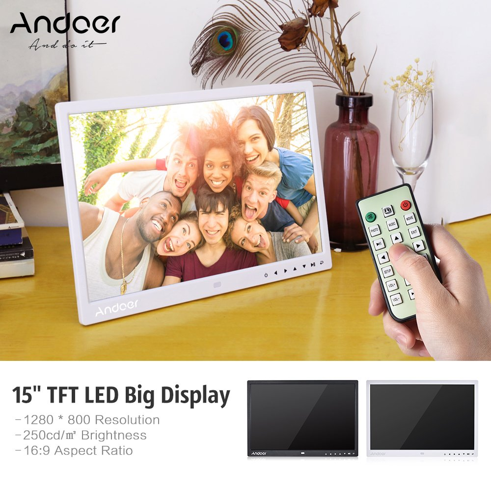 Digital Photo Picture Frame, Andoer 15 inch Digital Picture Frame 1280x800 HD Resolution 16:9 Wide Picture Screen Offers a Clear and Distinct Display (White) by Andoer (Image #2)