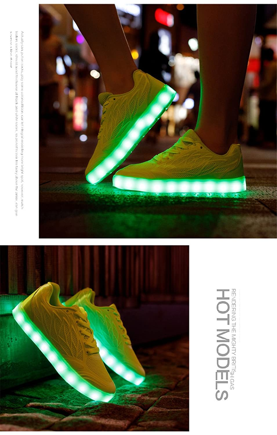 Smart.A LED Light Up Shoes for Kids Multi-Color LED Lighting Shoes with USB Charging for Little Kid//Big Kid