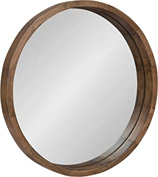 Amazon Com Kate And Laurel Hutton Round Decorative Modern Wood Frame Wall Mirror 22 Inch Diameter Natural Rustic Home Kitchen