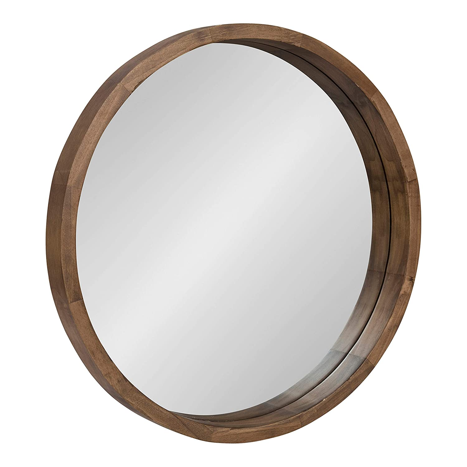 Kate and Laurel Hutton Round Decorative Modern Wood Frame Wall Mirror, 22 Inch Diameter, Natural Rustic