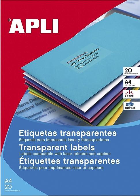 Apli 1225 - Etiquetas transparentes para impresoras láser y fotocopiadoras, 210 x 297 mm,