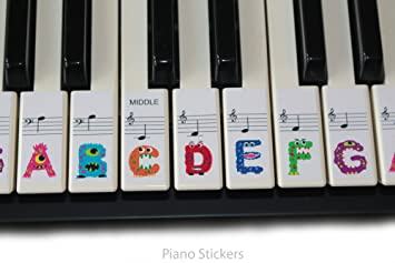 Image result for piano with stickers on keys