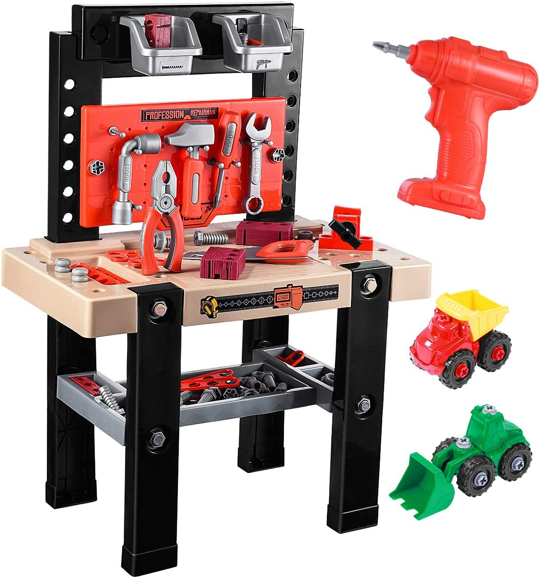 Years Boys Girls to Role Play and Simulated Repair Work GeyiieTOYS Kids Tool Bench Set 54Pcs Tool Toy Kit 2-in-1 Childrens Workbench Playset with Electric Drill Fold Up Design Toy Tool Box for 3
