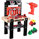 iBaseToy Kids Tool Bench, 91 Pieces Toy Workbench with Electric Drill, Construction Toy Vehicles, and Storage Space…