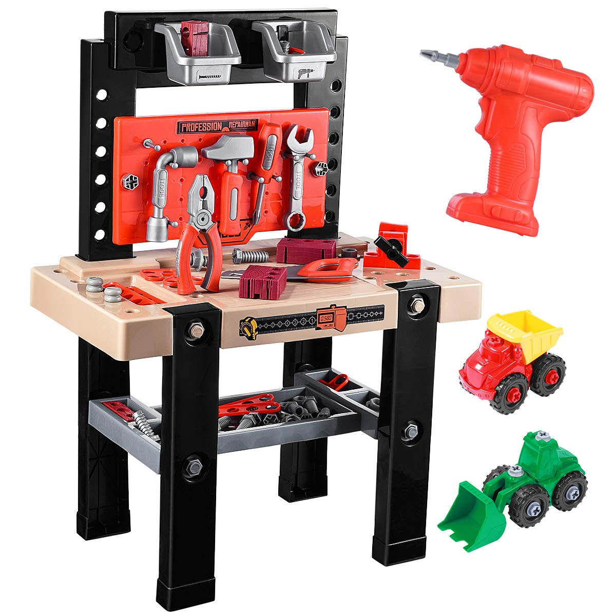 iBaseToy Toy Tool Bench, Kids Power Workbench, 91Piece Construction Toy Bench Set with Electric Drill, Educational Play & Pretend Play Workbench for Toddlers by iBaseToy