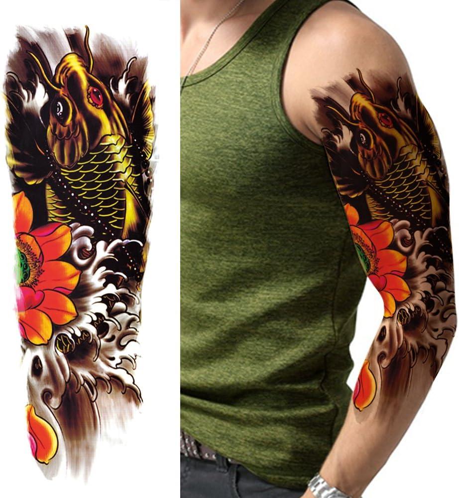 TAFLY Extra grande tatuajes temporales brazo completo flores y ...