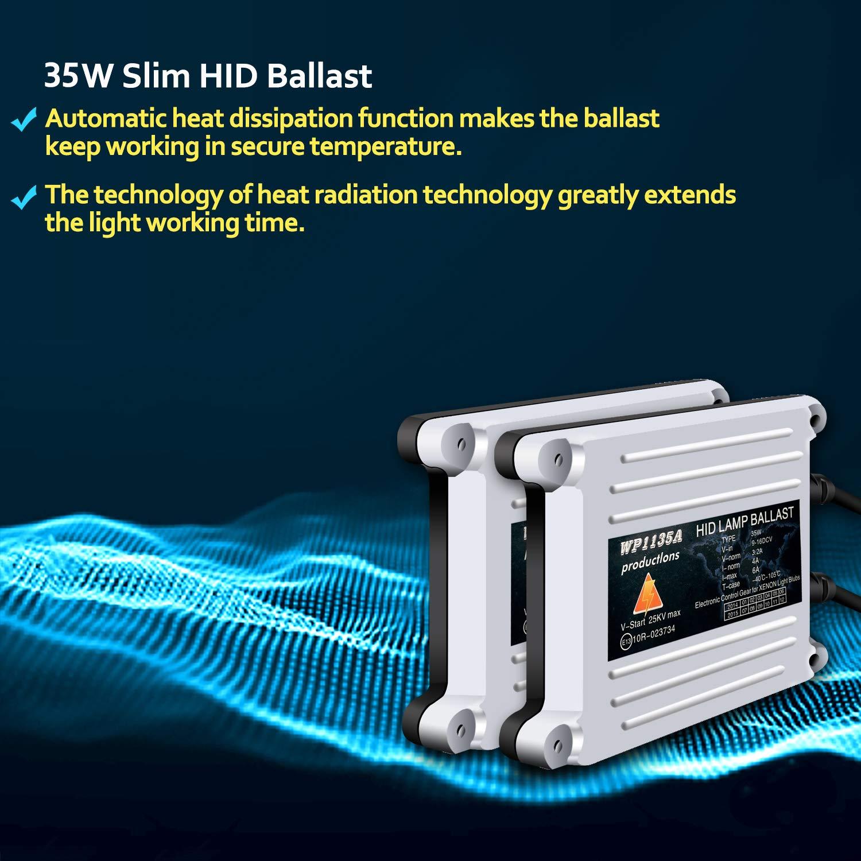 WinPower 35W Wechselstrom Wechselstrom HID Xenon-Scheinwerfer-Vorschaltger/ät Universal Fit f/ür H11 H8 H9 9006 9005 H1 H3 H4 H7 H13 2 St/ück