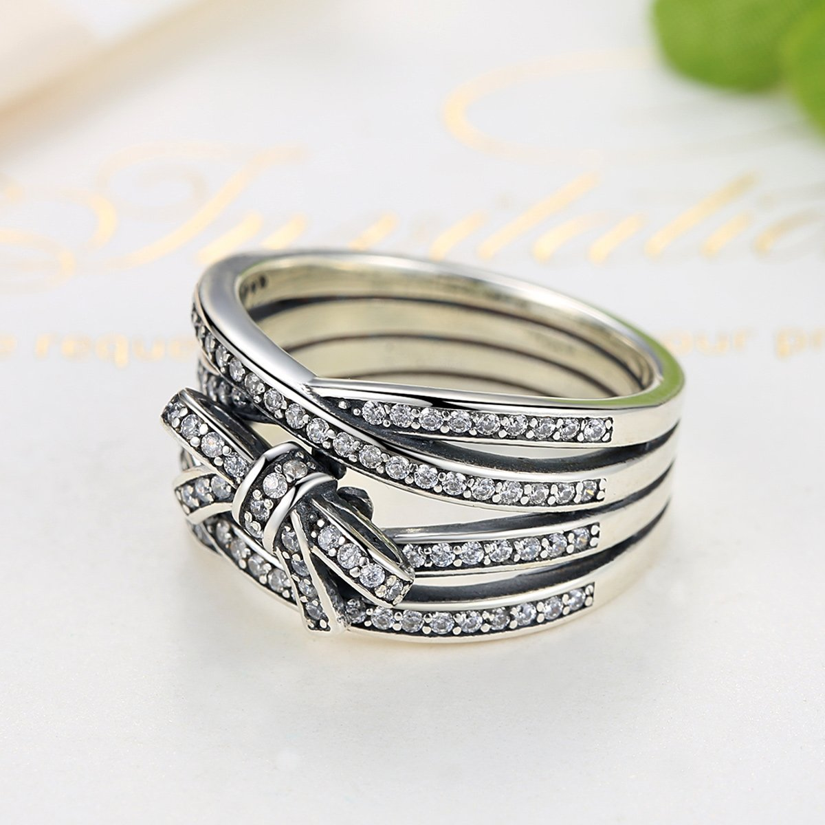 BAMOER 925 Sterling Silver Delicate Sentiments Ring 12mm Band with Sparkling Clear Cubic Zirconia Diamond Women Fashion Jewelry 6-9 (9) by BAMOER (Image #3)