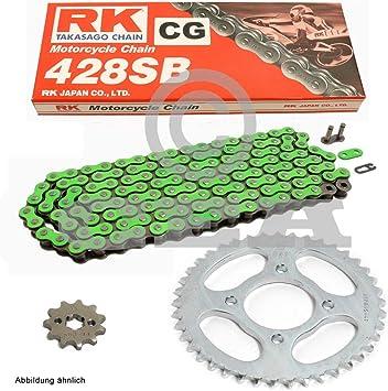 Kettensatz Geeignet Für Kawasaki Kmx 125 B 91 03 Kette Rk Cg 428 Sb 126 Offen GrÜn 16 48 Auto