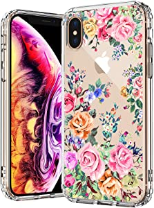 MOSNOVO Rose Garden Flower Floral Pattern Designed for iPhone Xs Max Case - Clear