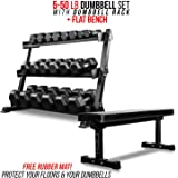Rep Dumbbell Set with Bench – 5-50, 5-75 or 5-