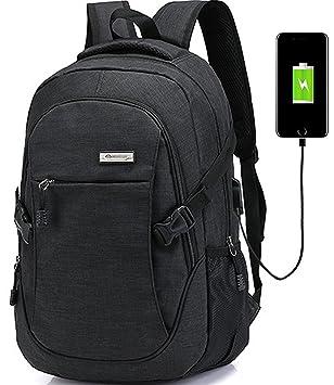 Mochilas Ordenador Portátil Mochila Para Portátil Para, Mochilas Impermeable de Carga USB Unisex con Durable y Gran Capacidad para trabajo, escolar, ...