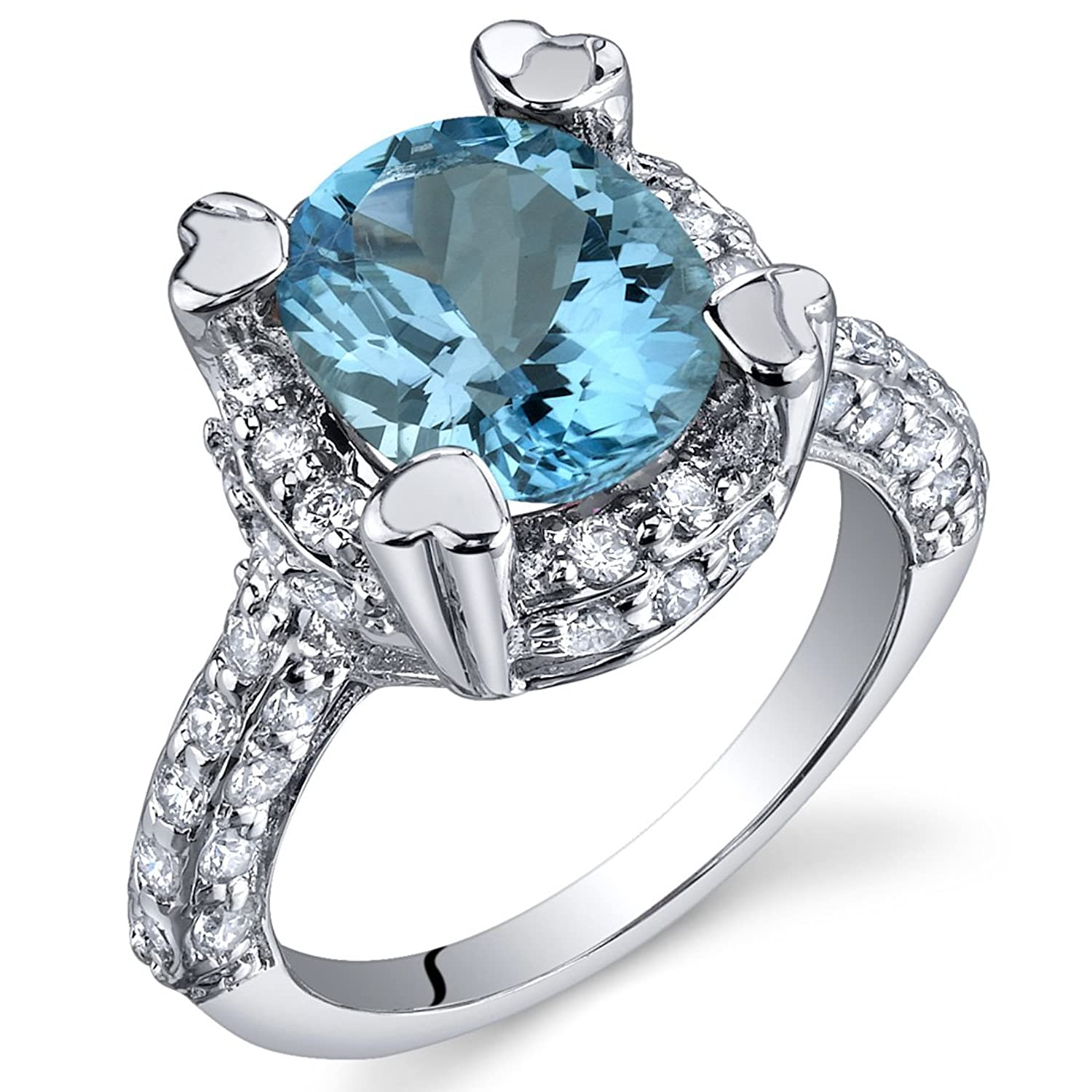Royal Splendor 3.00 Carats Swiss Blue Topaz Ring in Sterling Silver Rhodium Nickel Finish Sizes 5 to 9