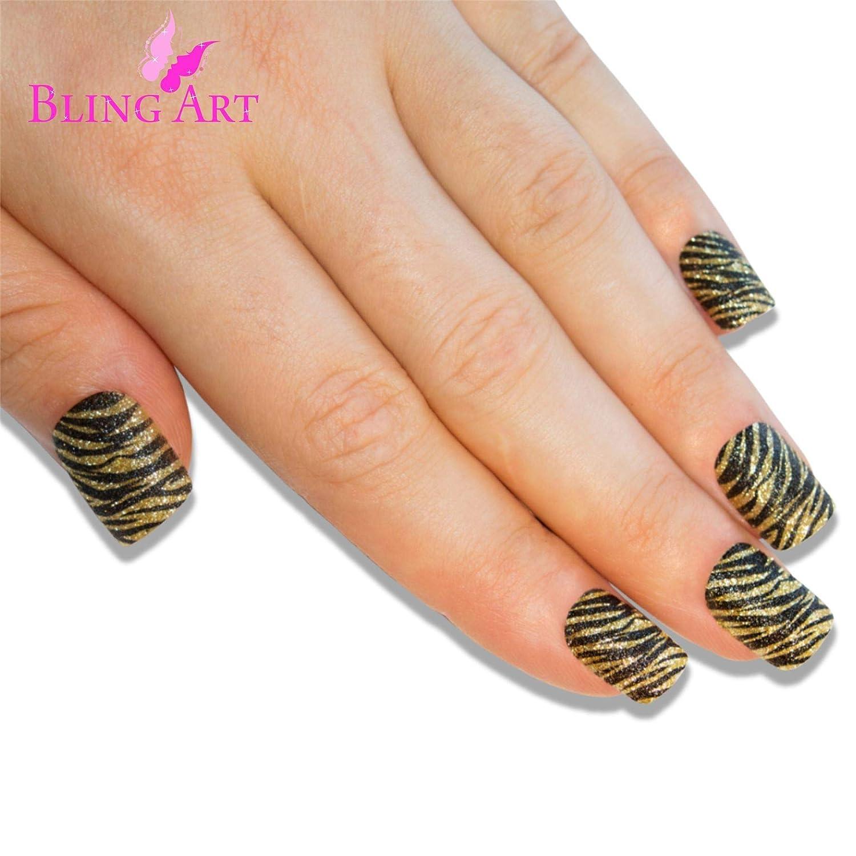 Uñas Postizas Bling Art Oro Negro 24 Squoval Medio Falsas puntas acrílicas con pegamento: Amazon.es: Belleza