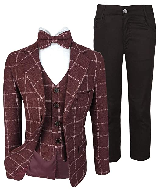 dbc210412 Flamingo Boys Modern Fit Maroon Check Wedding Suit 5 Piece Complete Set:  Amazon.co.uk: Clothing