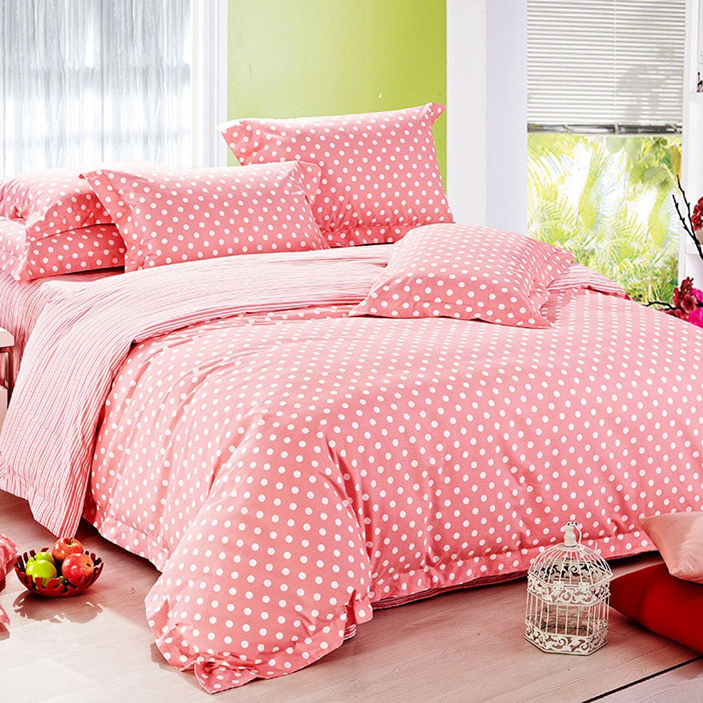 SAYM Home Bedding Sets Modern Fashion Digital Print 3D Effect Pink Wave Point Print Sanding Bedding Suits For Lovely Princess Teen Girls, Lady, Luxury Patchwork 100% Cotton Duvet Cover, Flat Sheet, Shams Set, King Size, 4Pieces