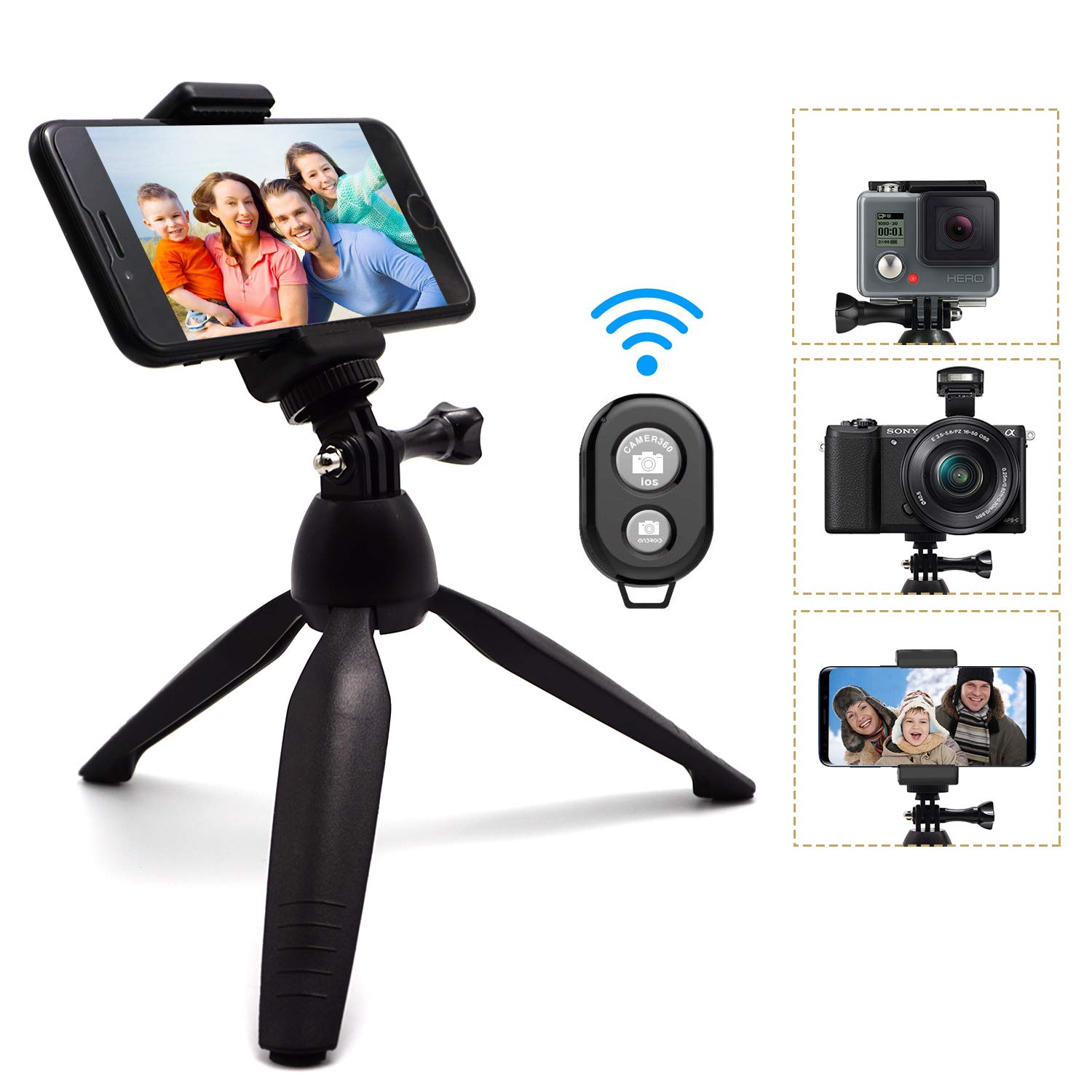 Phone Tripod, SYOSIN Mini Camera Tripod Selfie Stick Mini Tabletop Travel Stand Adjustable Camera Stand Holder with Wireless Remote Shutter and Universal Clip for DSLR, Gopro, Samsung, iPhone, More by SYOSIN