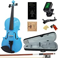 Amdini 1/2 AC100 Solid Wood Violin with Tuner, Manual, Case, Bow, Shoulder Rest and Extra Bridge & Strings (Blue)