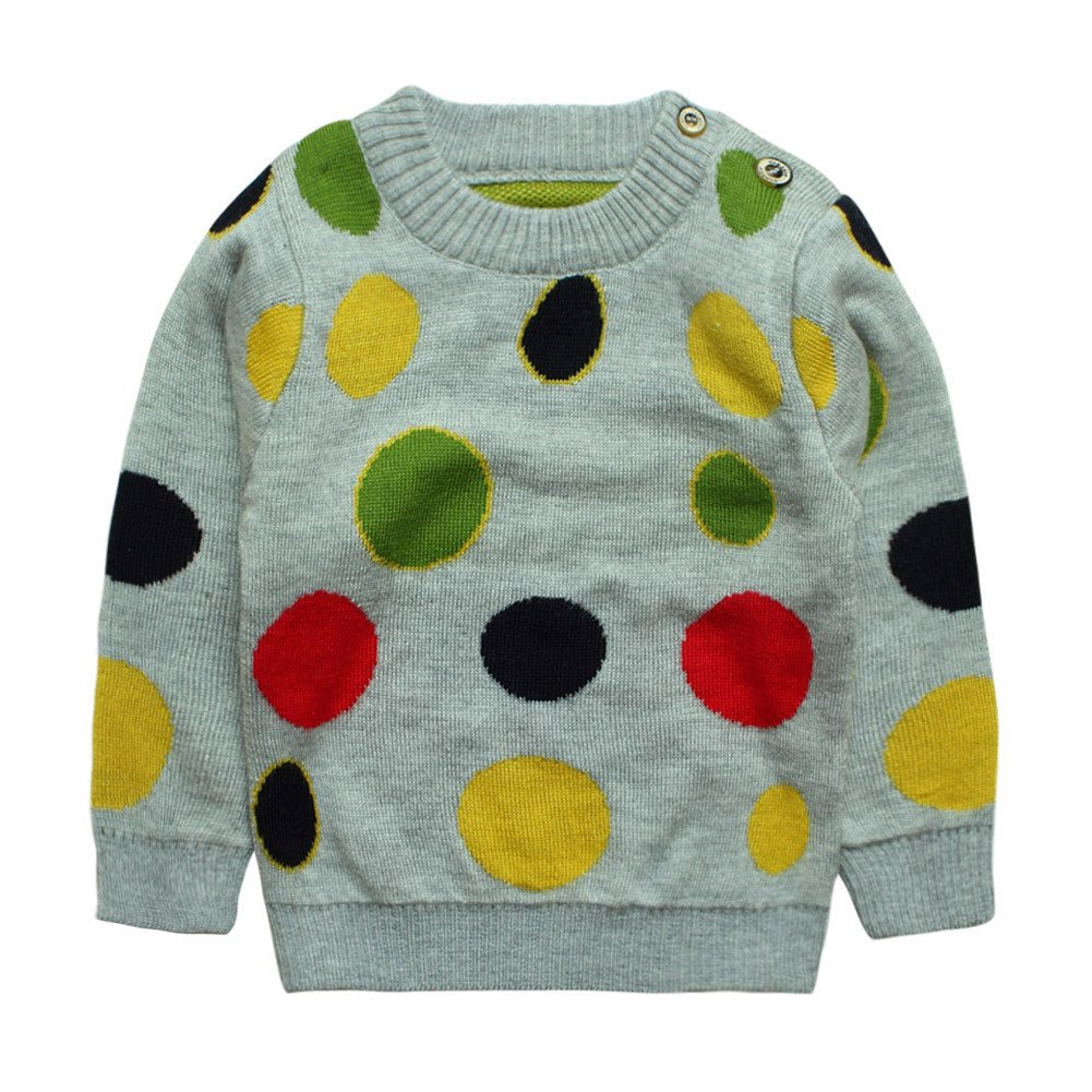 eTree Little Boys' Girls' Baby Cashmere Knitting Colored Dots Thick Sweater