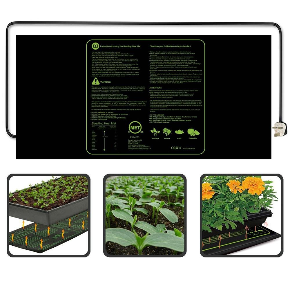 KOBWA Heating Mat CE(LVD & EMC) Listed Seedling Heating Pad Waterproof IP67 for Plant Homebrewing Pet Enclosure Terrariums(122x50.8 CM)